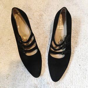 Salvatore Ferragamo mary jane kitten heels 3 strap